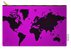 Carry-all Pouch featuring the photograph Map Of The World Purple by Rob Hans