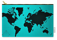 Carry-all Pouch featuring the photograph Map Of The World Turquoise by Rob Hans