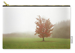 Carry-all Pouch featuring the photograph Maple Tree In Fog With Fall Colors  by Brooke T Ryan