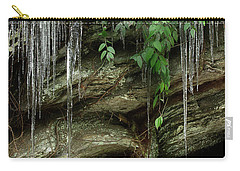 Carry-all Pouch featuring the photograph March Icicles 2 by Mike Eingle