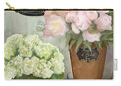 Marche Aux Fleurs 2 - Peonies N Hydrangeas Carry-all Pouch by Audrey Jeanne Roberts
