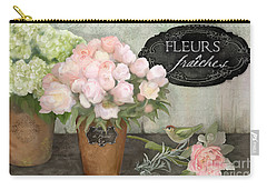 Carry-all Pouch featuring the painting Marche Aux Fleurs 2 - Peonies N Hydrangeas W Bird by Audrey Jeanne Roberts