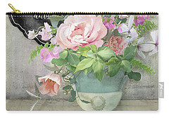 Carry-all Pouch featuring the painting Marche Aux Fleurs 3 Peony Tulips Sweet Peas Lavender And Bird by Audrey Jeanne Roberts