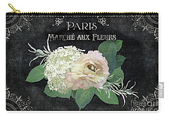 Marche Aux Fleurs 4 Vintage Style Typography Art Carry-all Pouch by Audrey Jeanne Roberts