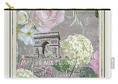 Marche Aux Fleurs Vintage Paris Arc De Triomphe Carry-all Pouch by Audrey Jeanne Roberts