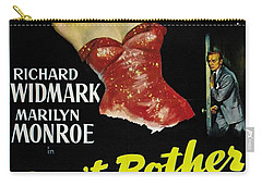 Carry-all Pouch featuring the photograph Marilyn Monroe And Richard Widmark In Don't Bother To Knock by R Muirhead Art