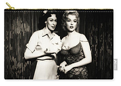 Carry-all Pouch featuring the photograph Marilyn Monroe Bus Stop Scene With Eileen Heckart  by R Muirhead Art