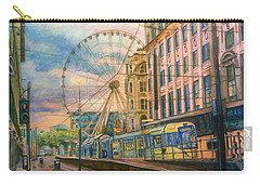 Market Street Metrolink Tramstop With The Manchester Wheel  Carry-all Pouch