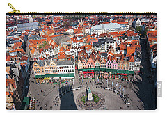 Carry-all Pouch featuring the photograph Markt Square Bruges From Above - Bruges by Barry O Carroll