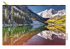 Carry-all Pouch featuring the photograph Olena Art Sunrise At Maroon Bells Lake Autumn Aspen Trees In The Rocky Mountains Near Aspen Colorado by OLena Art Brand