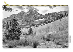 Carry-all Pouch featuring the photograph Maroon Bells Monochrome by Eric Glaser