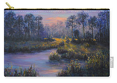 Marsh Sunset Nature Wetland Trees Print Of Panting Carry-all Pouch