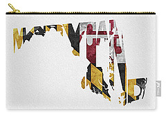Maryland Typographic Map Flag Carry-all Pouch