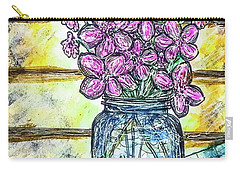 Carry-all Pouch featuring the painting Mason Jar Bouquet by Monique Faella