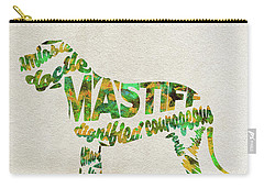 Carry-all Pouch featuring the painting Mastiff Dog Watercolor Painting / Typographic Art by Ayse and Deniz