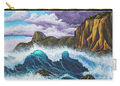 Carry-all Pouch featuring the painting Maui Rugged Coast  by Darice Machel McGuire