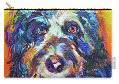Carry-all Pouch featuring the painting Max, The Aussiedoodle by Robert Phelps