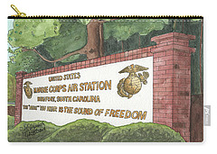Carry-all Pouch featuring the painting Mcas Beaufort Welcome by Betsy Hackett