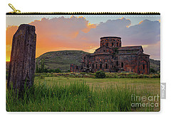 Mediaval Talin's Cathedral At Sunset With Cross Stone In Front, Armenia Carry-all Pouch