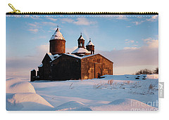Medieval Saghmosavank Monastery Covered By Snow At Sunset, Armenia Carry-all Pouch