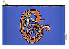Medieval Squirrel Letter C Blue Carry-all Pouch by Donna Huntriss