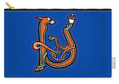 Medieval Squirrel Letter U Carry-all Pouch by Donna Huntriss