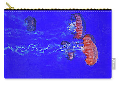 Carry-all Pouch featuring the digital art Medusas Jellyfishes by PixBreak Art