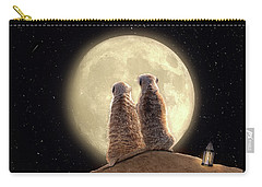 Carry-all Pouch featuring the digital art Meerkat Moon by Nicole Wilde