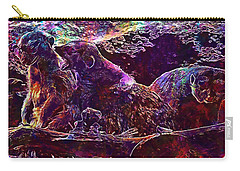 Carry-all Pouch featuring the digital art Meerkat Zoo Lazy Nature Animal  by PixBreak Art