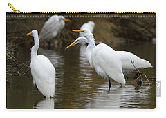 Carry-all Pouch featuring the photograph Meeting Of The Egrets by George Randy Bass