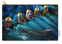Carry-all Pouch featuring the painting Mekong Weavers by Mojo Mendiola