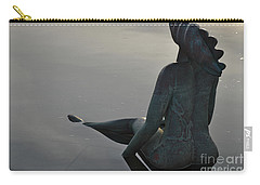 Mermaid Bronze Statue In The Faro Marina Carry-all Pouch by Angelo DeVal
