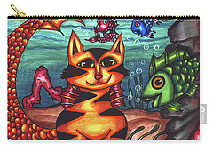 Mermaid Cat Fish Sealife Art Carry-all Pouch