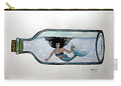 Mermaid In A Bottle Carry-all Pouch by Edwin Alverio