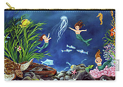 Carry-all Pouch featuring the painting Mermaid Recess by Carol Sweetwood