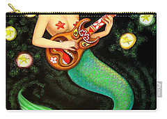 Mermaids Rock Tiki Guitar Carry-all Pouch by Sue Halstenberg