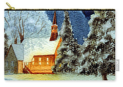 Carry-all Pouch featuring the painting Merry Christmas Card Yosemite Valley Chapel by Bill Holkham
