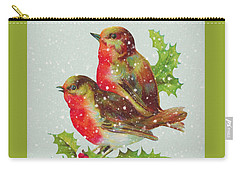 Merry Christmas Snowy Bird Couple Carry-all Pouch