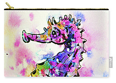 Carry-all Pouch featuring the painting Merry Seahorse by Zaira Dzhaubaeva