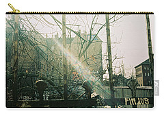 Metal Fence With Grafitti And Bridge Carry-all Pouch