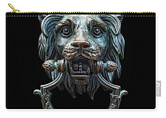 Carry-all Pouch featuring the photograph Metal Lion Head Doorknocker Isolated Black by Antony McAulay