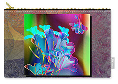 Carry-all Pouch featuring the digital art Metalic Bouquet by Iris Gelbart