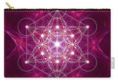Carry-all Pouch featuring the digital art Metatron Cube Fractal by Alexa Szlavics