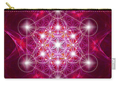 Carry-all Pouch featuring the digital art Metatron Cube With Flower by Alexa Szlavics