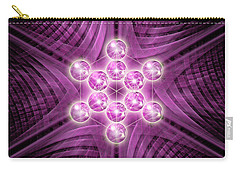 Carry-all Pouch featuring the digital art Metatron's Cube Atomic by Alexa Szlavics