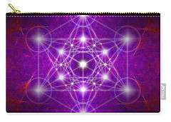 Carry-all Pouch featuring the digital art Metatron's Cube Colors by Alexa Szlavics