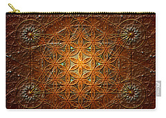 Carry-all Pouch featuring the digital art Metatron's Cube Inflower Of Life by Alexa Szlavics