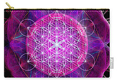 Carry-all Pouch featuring the digital art Metatron's Cube On Fractal Pletals by Alexa Szlavics