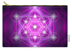 Carry-all Pouch featuring the digital art Metatron's Cube Purple by Alexa Szlavics