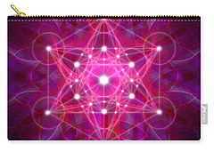 Carry-all Pouch featuring the digital art Metatron's Cube Reflection by Alexa Szlavics